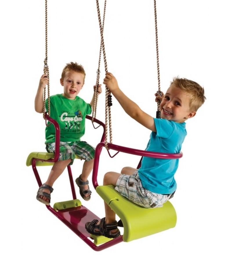 Huśtawka metalowa dwuosobowa wrzos z dziećmi