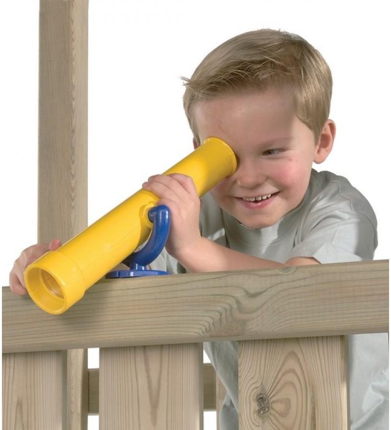 Teleskop na plac zabaw żółto niebieski z dzieckiem
