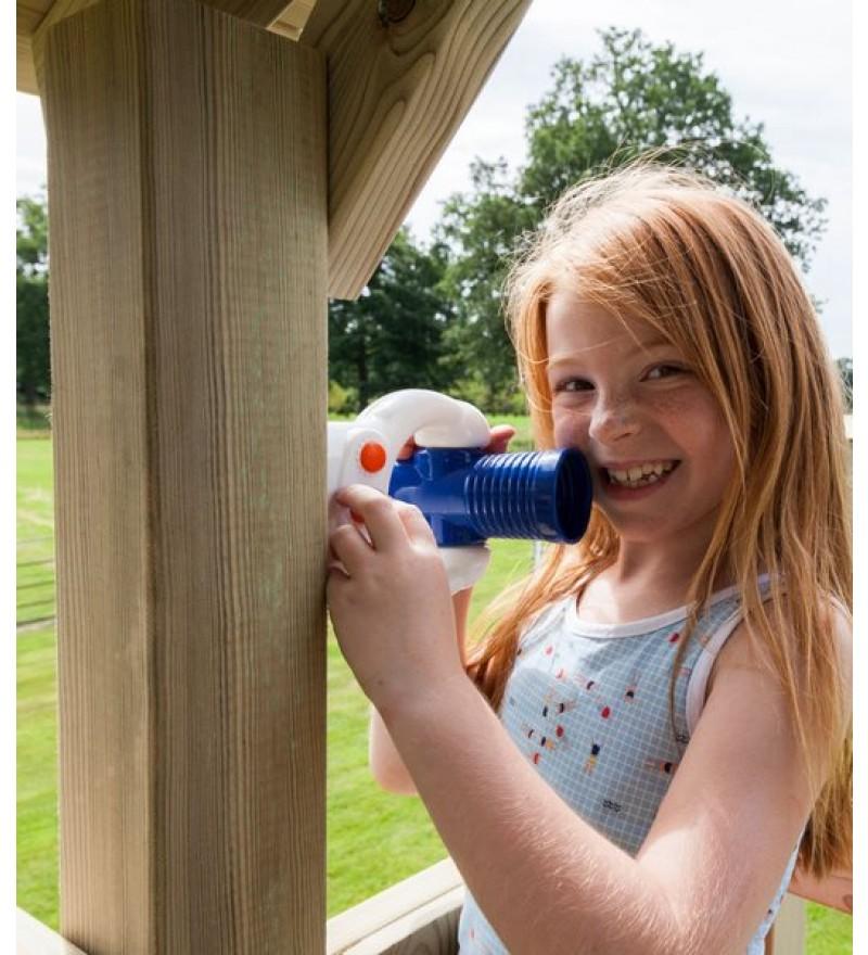 Megafon niebiesko biały z dziewczynką