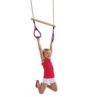 Drewniane rączki z trójkątnymi obręczami / Trapez do ćwiczeń