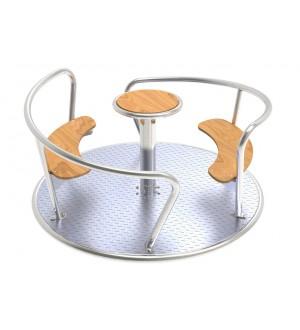 Karuzela na plac zabaw Viento - stal nierdzewna, drewniane siedziska