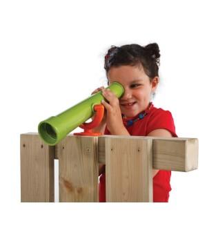 Teleskop na plac zabaw zielona limonka-pomarańczńcza z dzieckiem 2