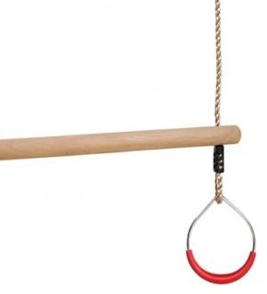 Drewniany trapez z metalowymi obręczami - czerwony