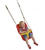 Huśtawka kubełkowa luxe z dzieckiem czerwona