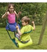 Huśtawka metalowa dwuosobowa zielona- z dziećmi