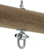 Zawiesie do huśtawki D+ zamontowane na drewnianej belce
