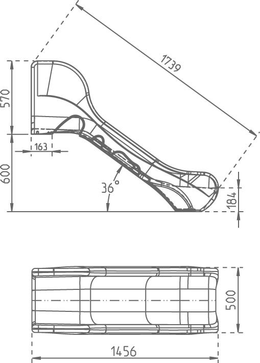Zjeżdżalnia 1,7m - wymiary BRONCO