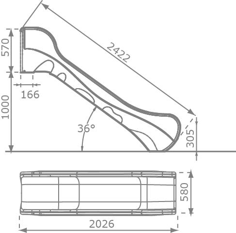 Zjeżdżalnia 2,5m - wymiary BRONCO