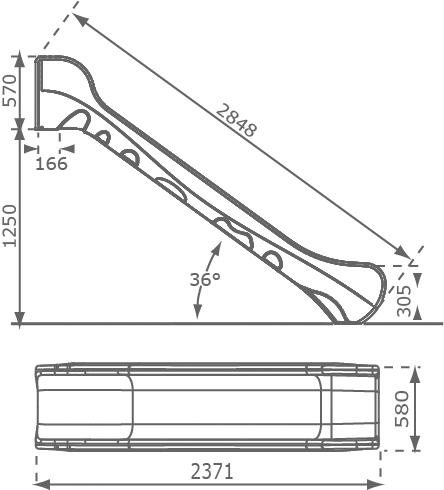 Zjeżdżalnia 2,9m - wymiary BRONCO